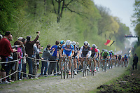 Bjorn Leukemans (BEL/Wanty-GroupeGobert) leading the peloton through sector 18: Trouée d'Arenberg /  Bois de Wallers-Arenberg<br /> with the big favorites in his wheel<br /> <br /> Paris-Roubaix 2014