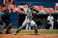 Dartmouth Big Green catcher Ben Rice (9) throws down to second base during a game against the Bradley Braves on March 21, 2019 at Chain of Lakes Stadium in Winter Haven, Florida.  Bradley defeated Dartmouth 6-3.  (Mike Janes/Four Seam Images)