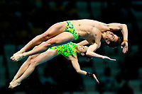 Picture by Rogan Thomson/SWpix.com - 15/07/2017 - Diving - Fina World Championships 2017 -  Duna Arena, Budapest, Hungary - Melissa Wu and Domonic Bedgood of Australia compete in the Mixed 10m Synchro Platform Final.