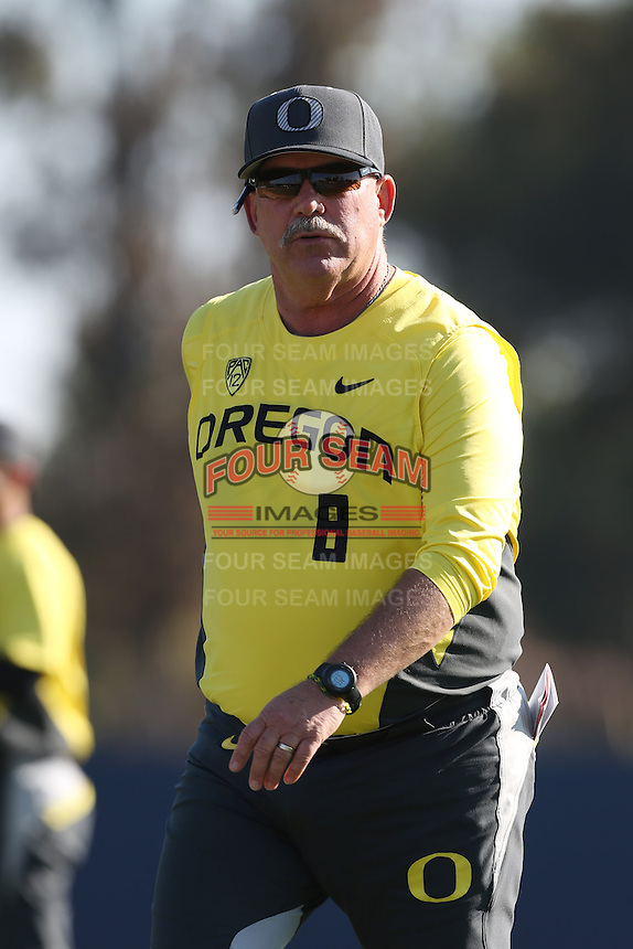 Oregon Ducks Head Coach George Horton #8 during a game against the Loyola Marymount Lions at Page Stadium on February 23, 2014 in Los Angeles, California. Oregon defeated Loyola, 4-3. (Larry Goren/Four Seam Images)