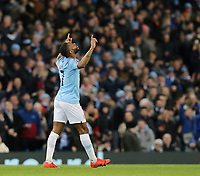 Manchester City's Raheem Sterling celebrates scoring his side's fourth goal <br /> <br /> Photographer Rich Linley/CameraSport<br /> <br /> UEFA Champions League Round of 16 Second Leg - Manchester City v FC Schalke 04 - Tuesday 12th March 2019 - The Etihad - Manchester<br />  <br /> World Copyright &copy; 2018 CameraSport. All rights reserved. 43 Linden Ave. Countesthorpe. Leicester. England. LE8 5PG - Tel: +44 (0) 116 277 4147 - admin@camerasport.com - www.camerasport.com