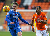 Blackpool's Nathan Delfouneso goes past Portsmouth's Oliver Hawkins<br /> <br /> Photographer Alex Dodd/CameraSport<br /> <br /> The EFL Sky Bet League One - Blackpool v Portsmouth - Saturday 11th November 2017 - Bloomfield Road - Blackpool<br /> <br /> World Copyright &copy; 2017 CameraSport. All rights reserved. 43 Linden Ave. Countesthorpe. Leicester. England. LE8 5PG - Tel: +44 (0) 116 277 4147 - admin@camerasport.com - www.camerasport.com