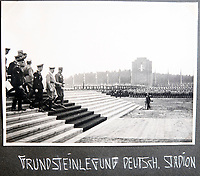 BNPS.co.uk (01202 558833)<br /> Pic: Jones&Jacob/BNPS<br /> <br /> Hitler dedicating the foundation stone of the enormous Deutsch Stadion in Nurenberg in September 1937 - it was never completed.<br /> <br /> Springtime for Hitler...Chilling album of pictures taken by one of Hitlers bodyguards illustrates the Nazi dictators rise to power.<br /> <br /> An unseen album of photographs taken by a member of Hitlers own elite SS bodyguard division in the years leading up to the start of WW2.<br /> <br /> The 1st SS Panzer Division 'Leibstandarte SS Adolf Hitler' or LSSAH began as Adolf Hitler's personal bodyguard in the 1920's responsible for guarding the Führer's 'person, offices, and residences'.