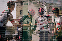 Team UAE having some trouble (fun) finding their designated numbers at the race start in Bergamo<br /> <br /> 112th Il Lombardia 2018 (ITA)<br /> from Bergamo to Como: 241km