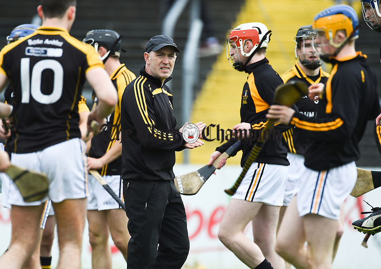 Robbie Hogan, Ballyea manager, with his charges before their senior county final against Clonlara at Cusack Park. Photograph by John Kelly.