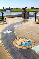 Route 66 Park on the West side of Lake Overholser is Oklahoma City's newest park. A stamped map depicting the historic Mother Road's route from Chicago to Santa Monica is featured in the park's Route 66 Plaza.  Thirty-four landmarks from Lincoln's birthplace in Springfield to the Harvey House in Barstow, California are featured along the eight-state map.  Nearby are the Route 66 Playground, Cyrus Avery Observation Tower, amphitheatre, area fishing access, and the Route 66. Skate Court. The pavilion and park also provide views of nearby Lake Overholser.