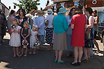 "Stowey Female Friendly Society Club Day. The Womens Walk Day. Local women and flower girls meet at the village ""cross"". Nether Stowey Somerset UK. 2014. 208th"