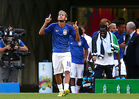 Neymar of Brazil prays as he comes out to warm up before kick off