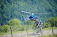 Jan Bakelants (BEL/OmegaPharma-Quickstep) & Tom-Jelte Slagter (NLD/Garmin-Sharp) bridge the gap to the race leaders over the Côte de Rogna (7.6km/4.9%)<br /> <br /> 2014 Tour de France<br /> stage 11: Besançon - Oyonnax (187km)