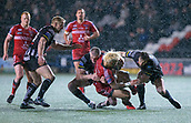 22nd March 2018, Select Security Stadium, Widnes, England; Betfred Super League rugby, Widness Vikings versus Salford Red Devils; Junior Sau is tackled by Chris Houston in driving snow