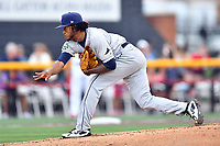 Princeton Rays starting pitcher Miguel Lara (45) delivers a pitch during a game against the Johnson City Cardinals at TVA Credit Union Ballpark on August 9, 2018 in Johnson City, Tennessee. The Rays defeated the Cardinals 10-2. (Tony Farlow/Four Seam Images)