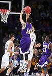 SIOUX FALLS, SD - MARCH 7: J.C. Fuller #31 of Western Illinois shoots a jumper as  Slyer Flatten #1 of South Dakota State defends in the first half of the first round of the men's Summit League Championship Tournament game Saturday evening at the Denny Sanford Premier Center in Sioux Falls, SD.(Photo by Dick Carlson/Inertia)