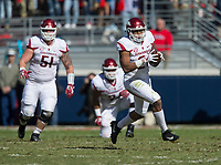 Hawgs Illustrated/BEN GOFF <br /> Devwah Whaley, Arkansas running back, runs after catching a pass in the first quarter against Ole Miss Saturday, Oct. 28, 2017, at Vaught-Hemingway Stadium in Oxford, Miss.
