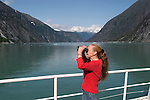Alaska, Wildlife viewing. Cruising the Southeast wilderness waterways on the Spirit of Discovery.  Endicott Arm and Dawes Glacier, scenery, glacier and cruise ship..Photo #: alaska10340 .Photo copyright Lee Foster, 510/549-2202, lee@fostertravel.com, www.fostertravel.com..