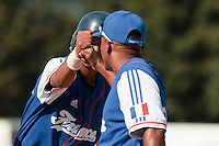 20 August 2010: Andy Paz of Team France checks with Gerardo Leroux during France 6-5 win over Italy, at the 2010 European Championship, under 21, in Brno, Czech Republic.