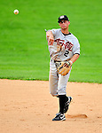 25 July 2010: Tri-City ValleyCats infielder Ben Orloff in action against the Vermont Lake Monsters at Centennial Field in Burlington, Vermont. The ValleyCats came from behind to defeat the Lake Monsters 10-8 in NY Penn League action. Mandatory Credit: Ed Wolfstein Photo