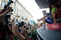 stage winner Matteo Trentin (ITA/Etixx-Quickstep) vs. the press<br /> <br /> stage 18: Muggio - Pinerolo (240km)<br /> 99th Giro d'Italia 2016