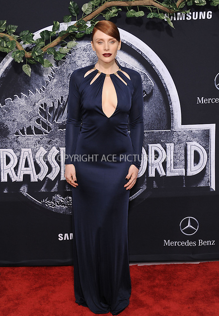 WWW.ACEPIXS.COM<br /> <br /> June 9 2015, LA<br /> <br /> Bryce Dallas Howard arriving at the world premiere of 'Jurassic World' at the Dolby Theatre on June 9, 2015 in Hollywood, California. <br /> <br /> <br /> By Line: Peter West/ACE Pictures<br /> <br /> <br /> ACE Pictures, Inc.<br /> tel: 646 769 0430<br /> Email: info@acepixs.com<br /> www.acepixs.com