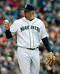 Seattle Mariners'  J.J. Putz points to the dugout in the eight inning of Major League Baseball game against the Detroit TIgers in Seattle on Sunday, June 1, 2008. Jim Bryant Photo. ©2010. ALL RIGHTS RESERVED.