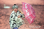 Annie MacMonagle with her dalmatian outfit at Killarney Golf Club during the heavy rains over christmas in 1996..Picture by Don MacMonagle