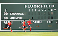 April 2, 2008: Pitchers for the Greenville Drive run in the outfield in front of the new Fluor Field sign during Media Day at Fluor Field at the West End in Greenville, S.C. Photo by:  Tom Priddy/Four Seam Images