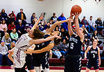 NAUGATUCK,  CT-011820JS10- Shepaug's Brooke Donaghey (15), right, pulls down a rebound being fought for by Naugatuck's Felicia Salvati (11) and Shepaug's Rachel Andrews (5) during their non-league game Saturday at Naugatuck High School. <br /> Jim Shannon Republican-American