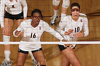 30 November 2007: Foluke Akinradewo and Alix Klineman during Stanford's 3-0 win over Santa Clara University in the first round of the NCAA Division 1 Women's Volleyball Championships in Maples Pavilion in Stanford, CA.
