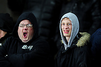 Swansea City fans in action during the Sky Bet Championship match between Swansea City and Charlton Athletic at the Liberty Stadium in Swansea, Wales, UK.  Thursday 02 January 2020