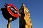 Big Ben and sign of underground station, London, England, United Kingdom, Great Britain.