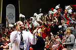 SIOUX FALLS, SD - MARCH 24: Ferris State University fans cheer as head coach Paul Sather of Northern State University jeers during the Division II Men's Basketball Championship held at the Sanford Pentagon on March 24, 2018 in Sioux Falls, South Dakota. Ferris State University defeated Northern State University 71-69. (Photo by Tim Nwachukwu/NCAA Photos via Getty Images)