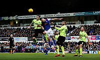 Sheffield United's John Fleck battles with Ipswich Town's Luke Chambers<br /> <br /> Photographer Hannah Fountain/CameraSport<br /> <br /> The EFL Sky Bet Championship - Ipswich Town v Sheffield United - Saturday 22nd December 2018 - Portman Road - Ipswich<br /> <br /> World Copyright © 2018 CameraSport. All rights reserved. 43 Linden Ave. Countesthorpe. Leicester. England. LE8 5PG - Tel: +44 (0) 116 277 4147 - admin@camerasport.com - www.camerasport.com