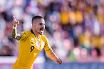 Jamie Maclaren of Australia celebrates scoring the team's first goal during the AFC Asian Cup UAE 2019 Group B match between Palestine (PLE) and Australia (AUS) at Rashid Stadium on 11 January 2019 in Dubai, United Arab Emirates. Photo by Marcio Rodrigo Machado / Power Sport Images