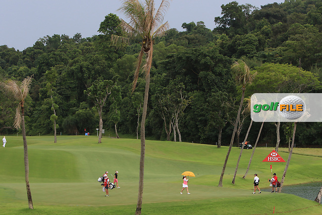 Action on the 2nd green during Round 2 of the HSBC Women's Champions on Friday 3rd March 2017.<br /> Picture:  Thos Caffrey / Golffile
