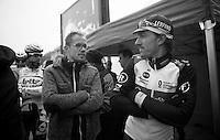 101st Scheldeprijs ..Fabian Cancellara (CHE) & press officer Tim Vanderjeugd share poses (against the cold)