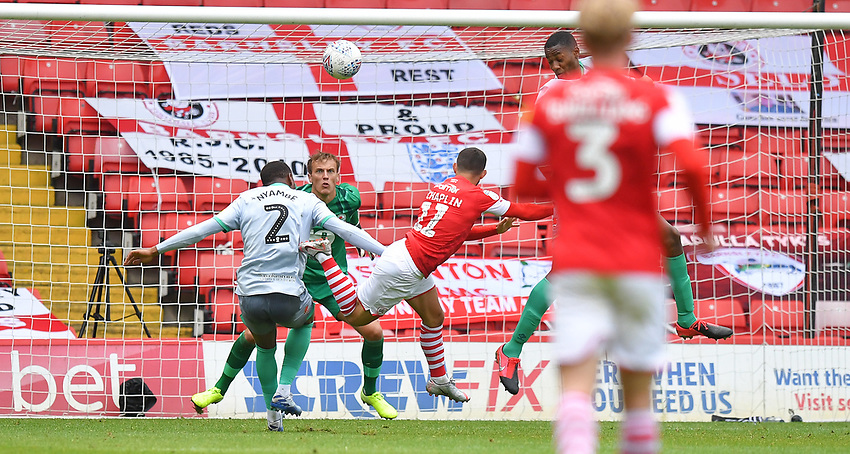 Barnsley's Conor Chaplin scores his team's opening goal<br /> <br /> Photographer Dave Howarth/CameraSport<br /> <br /> The EFL Sky Bet Championship - Barnsley v Blackburn Rovers - Tuesday 30th June 2020 - Oakwell - Barnsley<br /> <br /> World Copyright © 2020 CameraSport. All rights reserved. 43 Linden Ave. Countesthorpe. Leicester. England. LE8 5PG - Tel: +44 (0) 116 277 4147 - admin@camerasport.com - www.camerasport.com