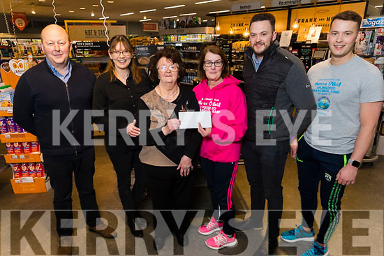 Noreen O'Neill from Ardfert who is taking part in a parachute jump for Recovery Haven pictured with the Horgan family in Horgans Centra Ardfert on Tuesday.<br /> L to r: Brendan, Norrie and Bonny Horgan, Noreen O'Neill, Rory and Fionnan Horgan