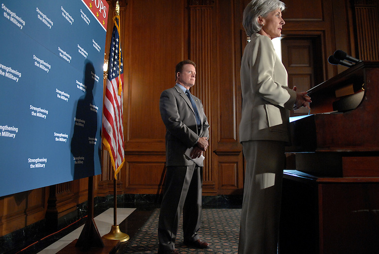 Sen. Jim Webb, D-Va., listens to Kansas Governor Kathleen Sebelius speak at a news conference to discuss Democrats' efforts to ensure that U.S. military and National Guard units deploying for combat operations in Iraq and Afghanistan are supported properly. Webb will be responsible for an amendment to the National Defense Authorization Act that states that units and members have the same time at home as the length of their tour of duty overseas.