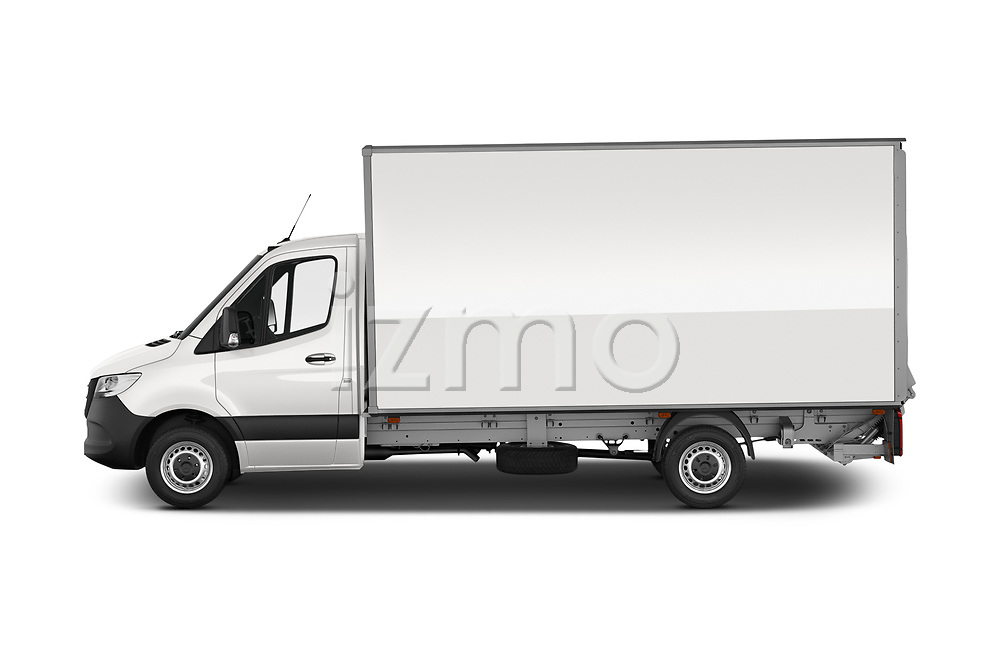 Car Driver side profile view of a 2019 Mercedes Benz Sprinter-Box-Van - 2 Door Chassis Cab Side View
