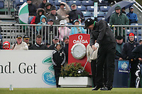 Jamie Donaldson Teeing off on the 1st tee box on day 3 of the 3 Irish open in Co Louth Golf Club Baltray..Pic Fran Caffrey/golffile.ie