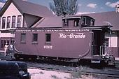 3/4 rear view of D&amp;RGW caboose #0505 at Durango depot.<br /> D&amp;RGW  Durango, CO