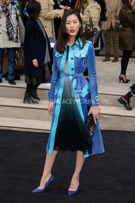 WWW.ACEPIXS.COM<br /> <br /> January 12 2015, London<br /> <br /> Liu Wen attends the Burberry Prorsum Menswear A/W 2015 in Kensington Gardens on January 12 2015 in London<br /> <br /> <br /> By Line: Famous/ACE Pictures<br /> <br /> <br /> ACE Pictures, Inc.<br /> tel: 646 769 0430<br /> Email: info@acepixs.com<br /> www.acepixs.com