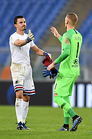 Emil Audero of Sampdoria and Patrick Robin Olsen of AS Roma greet each other at the end of the Serie A 2018/2019 football match between AS Roma and UC Sampdoria at stadio Olimpico, Roma, November, 11, 2018 <br />  Foto Andrea Staccioli / Insidefoto