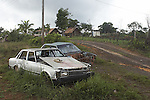 Abandoned cars in the village of Brownsveg in the Brokopondo district of Suriname.