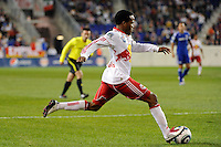 Dane Richards (19) of the New York Red Bulls shoots and scores during a Major League Soccer (MLS) match against the Kansas City Wizards at Red Bull Arena in Harrison, NJ, on October 02, 2010.