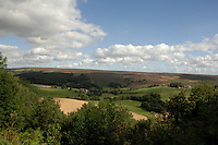 North Yorkshire moors and farm land close to Farndale, North Yorkshire, England, Sep 2007.