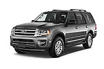 2015 Ford Expedition XLT 5 Door SUV Angular Front stock photos of front three quarter view