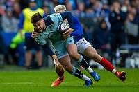 8th March 2020; Murrayfield Stadium, Edinburgh, Scotland; International Six Nations Rugby, Scotland versus France; Ali Price of Scotland is tackled by Matthieu Jalibert of France