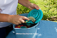 01162-12803 Woman cleaning hummingbird feeder, Marion County, IL