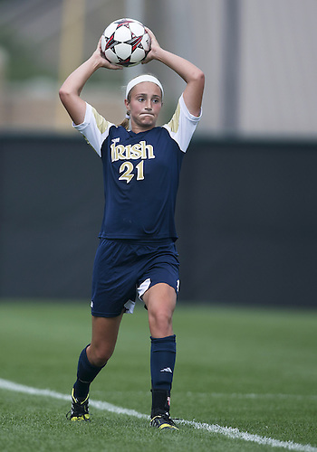September 01, 2013:  Notre Dame defender Brittany Von Rueden (21) during NCAA Soccer match between the Notre Dame Fighting Irish and the UCLA Bruins at Alumni Stadium in South Bend, Indiana.  UCLA defeated Notre Dame 1-0.