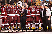 Luke Esposito (Harvard - 9), Tyler Moy (Harvard - 2), Clay Anderson (Harvard - 5), Devin Tringale (Harvard - 22), Steve Nazro, Alexander Kerfoot (Harvard - 14), Sean Malone (Harvard - 17), Phil Zielonka (Harvard - 72), Ted Donato (Harvard - Head Coach), Victor Newell (Harvard - 8) - The Harvard University Crimson defeated the Boston University Terriers 6-3 (EN) to win the 2017 Beanpot on Monday, February 13, 2017, at TD Garden in Boston, Massachusetts.